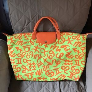 Authentic Longchamp large Jeremy Scott tote bag